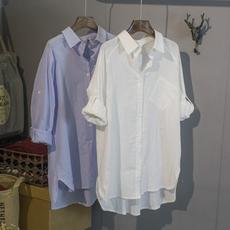 2016夏季韩版不规则空调衫棉麻白衬衫BF风宽松大码中长文艺女衬衣