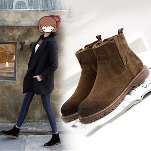 小红人秋冬马丁靴女英伦风内增高短靴平底真皮加绒磨砂皮切尔西靴