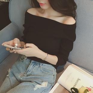 韩国一字领露肩上衣短款性感打底衫女长袖秋冬毛衣小衫修身针织衫