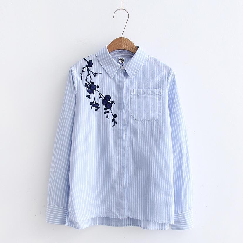 2018春款韩版纯棉刺绣蓝色白竖条纹长袖衬衫女外套上衣打底衬衣衬衫