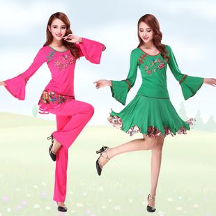 秋季广场舞蹈服装喇叭袖上衣绣花蕾丝裙子长裙裤牛奶丝套装民族风