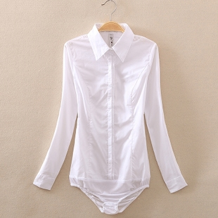 白衬衫女长袖2018秋装新款纯棉修身气质时尚职业女装韩版连体衬衣