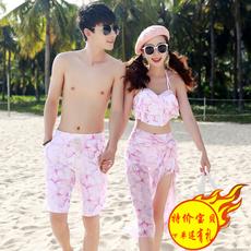 金格尔新款蜜月旅游度假情侣泳衣 比基尼三件套平角防走光 沙滩裤