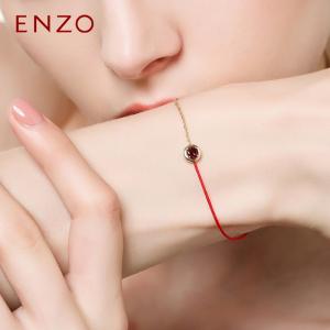 ENZO珠宝9K黄金镶嵌石榴石托帕石橄榄石黄晶紫晶时尚彩宝手链手绳镶嵌珠宝
