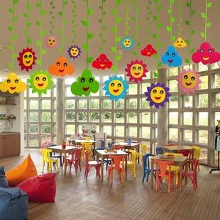 幼儿园商场装饰 教室走廊楼道环境布置 创意双面笑脸云朵空中吊饰