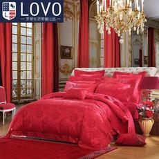 罗莱集团lovo家纺大红全棉结婚九件套床上用品婚庆纯棉被套