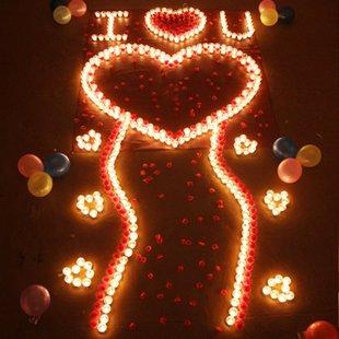 蜡烛浪漫平安夜圣诞节求婚求爱表白道具玫瑰套餐创意生日礼物女生