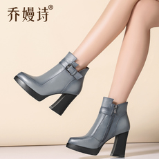 秋冬新款女靴 真皮高跟防水台粗跟短靴女尖头英伦风潮马丁靴