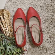 慢客家 百搭一字带尖头坡跟打蜡小牛皮复古手工赫本女单鞋 883-9