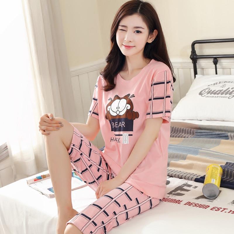 睡衣女夏季纯棉短袖七分短裤韩版可爱卡通加大码家居服薄款套装夏短袖睡衣