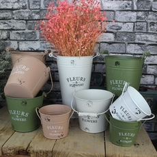 菲碧铁艺花店插花筒手提式防锈铁皮桶创意花盆干花鲜花花桶收纳桶