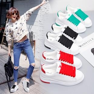2017春季韩版小白鞋厚底运动鞋系带学生平底休闲鞋百搭白色女单鞋