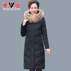 17雅鹿羽绒服女士中年冬季加厚中长款羽绒外套狐狸毛领大码妈妈装