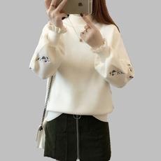 2017秋冬新款韩版宽松纯色绣花针织衫半高领打底衫套头上衣女毛衣