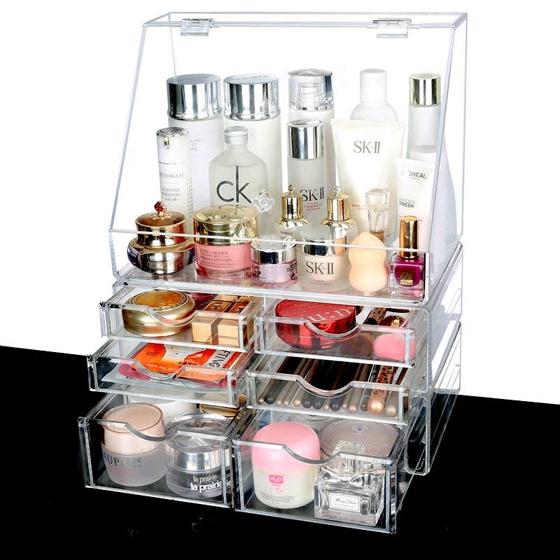 超大号透明化妆品收纳盒 防尘翻盖式护肤品收纳架 桌面收纳盒化妆品收纳
