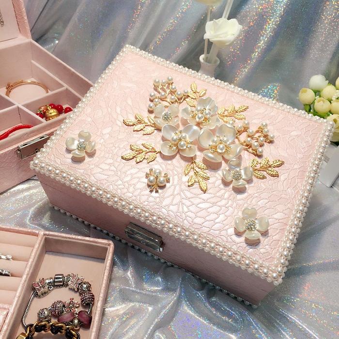项链戒指小饰品收纳盒珠宝首饰盒公主欧式韩国多层简约多功能创意首饰盒
