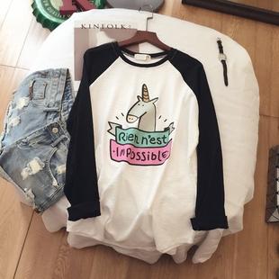 2018春装新款纯棉宽松插肩袖T恤女长袖卡通印花竹节棉显瘦打底衫