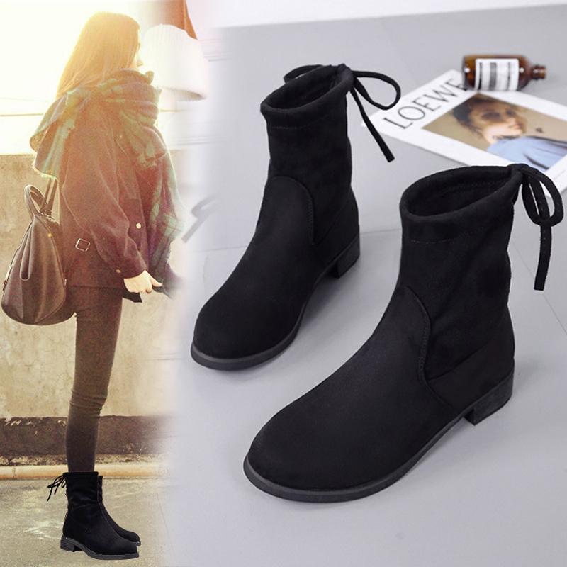 马丁靴女短靴子秋款2017新款平底女靴中筒靴韩版百搭冬季加绒女鞋女鞋