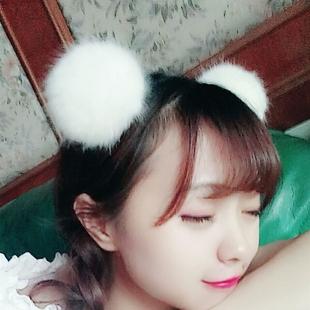日系软妹卖萌甜美可爱大毛球发箍猫耳朵发卡晚会表演头饰发饰