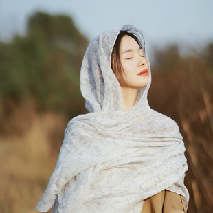 丝巾女式春秋冬旅游防晒超大棉麻披肩长款文艺多功能百搭围巾纱巾