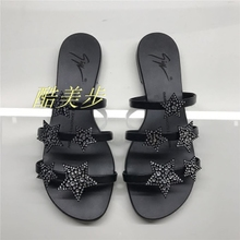 2008 European and American Baitao fashion outwear flat-bottomed ladies star-studded drill beach shoes Xiagz leather flat-heeled flip-flops