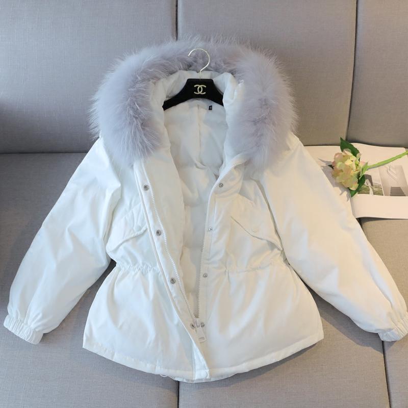 林珊珊 冬季新款韩国大毛领白色羽绒服女中长款加厚收腰连帽外套长款羽绒服