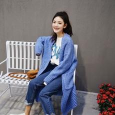 2017春新 韩国慵懒风糖果色宽松显瘦中长款棒针毛衣开衫女外套潮