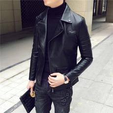 秋冬新款潮流修身短款翻领皮衣夹克男士韩版青年学生休闲外套上衣