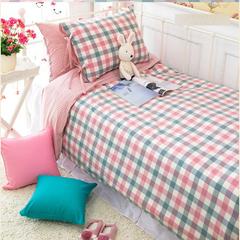 床上用品四件套全棉韩版田园公主纯棉格子三件套被套床单家纺床品