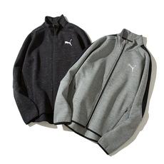 彪马puma运动外套男2017冬季新款针织夹克立领上衣运动服串标外套