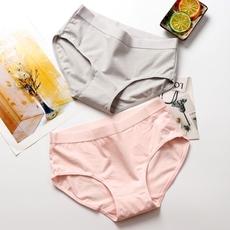 4条纯棉内裤女中腰三角裤棉质面料抗菌学生少女短裤纯色有大码