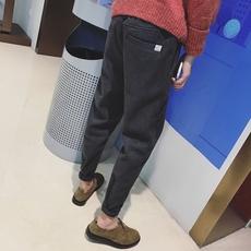港风潮男简约休闲裤子男青年修身小脚哈伦裤2016冬季新款毛呢长裤