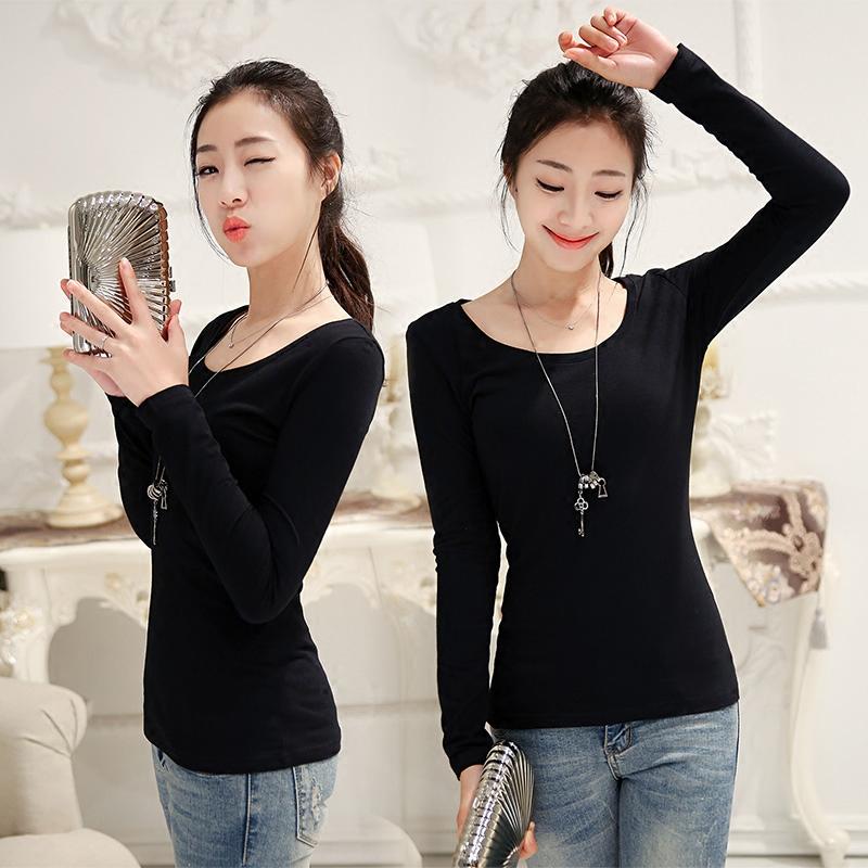 黑色打底衫女长袖t恤修身2017春季新款韩版百搭纯棉紧身秋衣上衣T恤