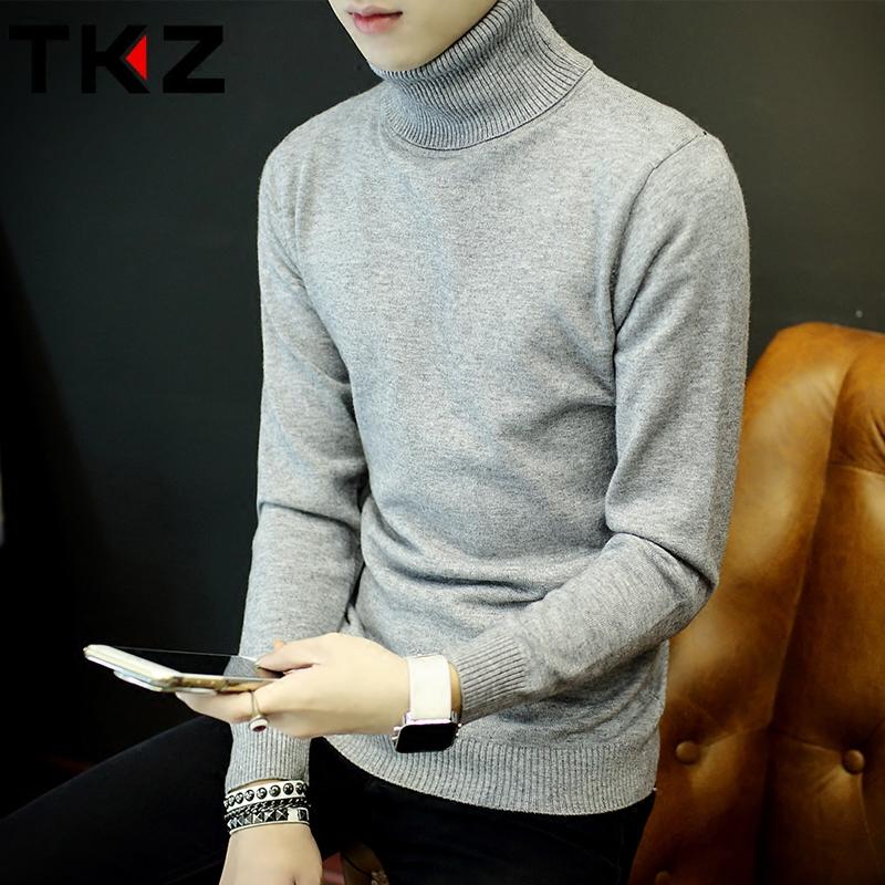 秋冬男士高领毛衣韩版修身纯色针织衫翻领加厚套头打底衫男线衣潮棒球服