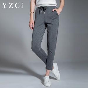 YZC2017夏秋季新品修身显瘦休闲裤女高腰系带小脚哈伦裤子九分裤