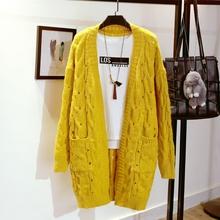 中长款毛衣开衫女春装新款韩版宽松粗毛线麻花口袋针织衫外套春季
