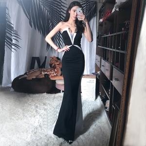 夜店性感晚礼服2018新款女装包臀修身名媛气质低胸连衣裙礼服裙长