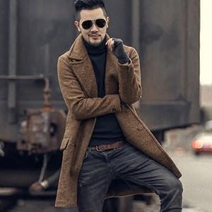 特价冬季羊毛呢子 型男双排扣大衣  男装中长款毛呢大衣<span class=H>外套</span>F7034