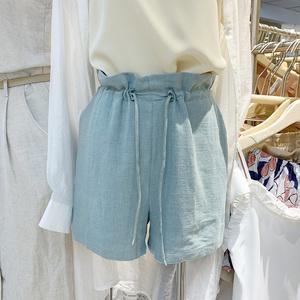 HELLO SEPTEMBER新款2019夏装韩版<span class=H>女装</span>纯色高腰抽绳系带棉麻短裤