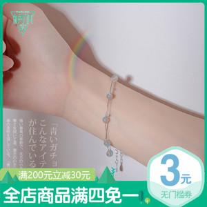 小众设计月光石月光森林<span class=H>手链</span>女纯银韩版学生简约个性森系清新手饰