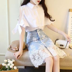 时尚港味衬衫牛仔裙2019春秋夏气质翻领白衬衫刺绣半身裙两件套装
