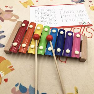 婴幼儿童益智音乐<span class=H>玩具</span>敲击<span class=H>乐器</span>小木琴宝宝木制手敲八音琴 1-2周岁
