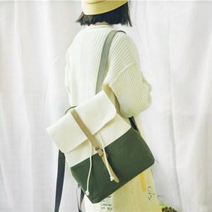 PHIUM<span class=H>书包</span>女韩版高中大学生森系背包ins风简约撞色日系帆布双肩包