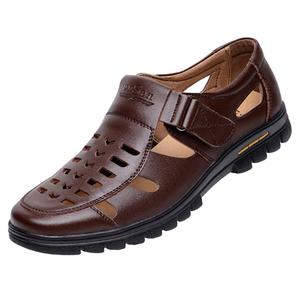 皮鞋男夏季皮<span class=H>凉鞋</span>男士<span class=H>凉鞋</span>透气休闲皮鞋洞洞<span class=H>男鞋</span>新品镂空爸爸<span class=H>鞋子</span>