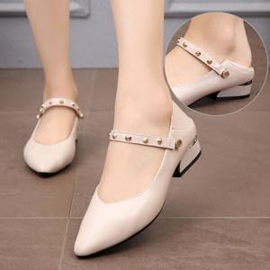 春秋女<span class=H>鞋子</span>2019新款真皮浅口小皮鞋软底工作鞋低跟尖头单鞋小码31
