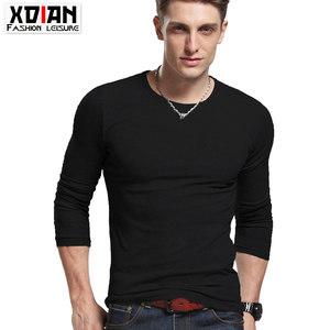男士修身长袖<span class=H>T恤</span>圆领弹力衫莱卡棉透气吸汗运动上衣时尚潮