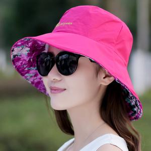 2018新款韩版潮春夏季女士太阳帽户外防晒带钢圈遮阳可折叠布帽子