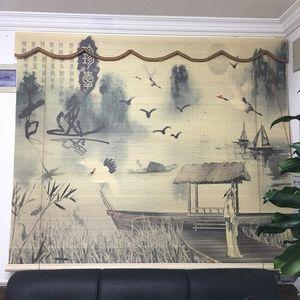 新中式窗帘成品客厅卧室高档古典中国风美式田园大气<span class=H>竹子</span>牡丹刺绣