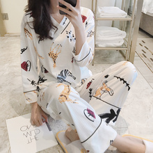 Korean version pajamas women spring and autumn thin long-sleeved pure cotton cartoon lovely summer home clothes two suits can be worn outside