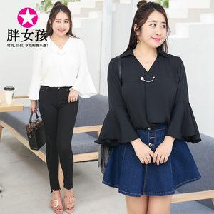 胖妹妹加肥加大号码女装胖人衣服韩版2018秋装新款雪纺蝙蝠袖衬衫